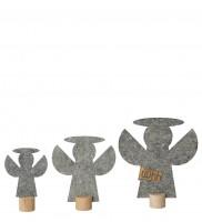 Deko-Engel aus Öko-Filz 3er-Set, grau