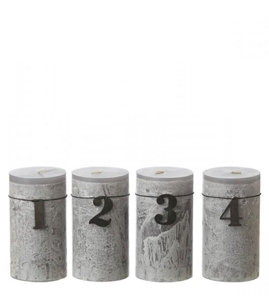 Adventskerzen Zahlen, schwarz Holz