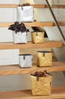 Fair-Trade Aufbewahrungsbehälter eckig in zwei Größen, silber