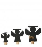 Deko-Engel aus Öko-Filz 3er-Set, schwarz