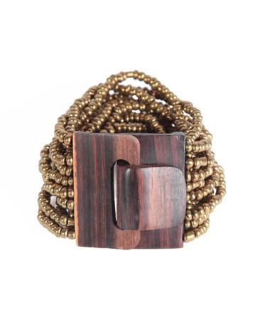"Naturschmuck - Glasperlenarmband ""Fibbia"", gold"