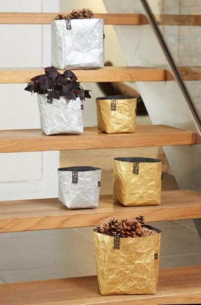 Fair-Trade Aufbewahrungsbehälter eckig in zwei Größen, gold