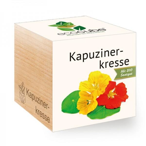 "Ecocube Pflanze im Holzwürfel ""Kapuzinerkresse"""