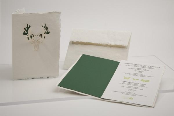 Büttenpapier Grußkarte - Rentier, handgeschöpft