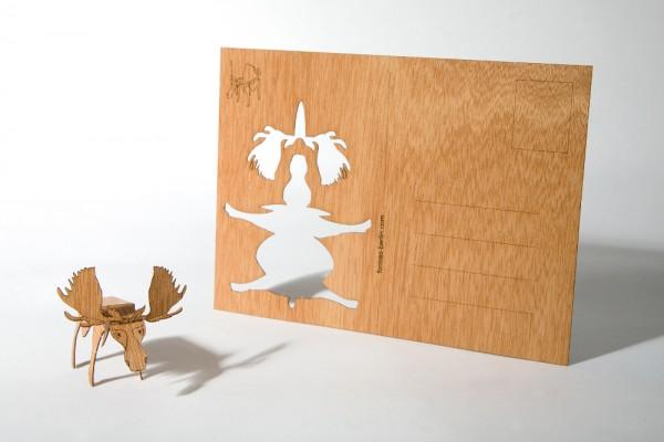 """Zedernholz Postkarte - """"Elch"""""""