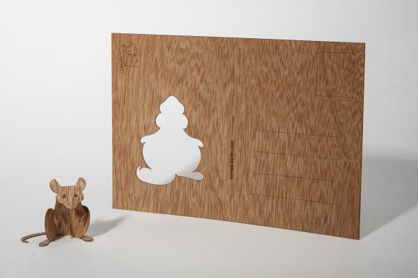 "Zedernholz Postkarte ""Maus"""
