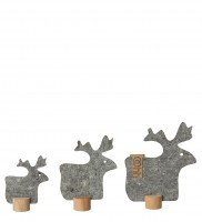 Deko-Rentiere aus Öko-Filz 3er-Set, grau
