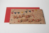 "Zedernholz Pop Up Postkarte - ""Happy Birthday"""