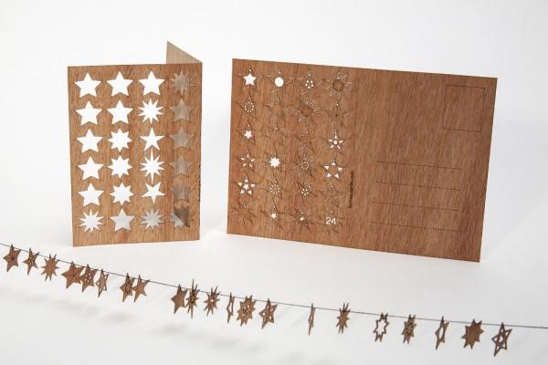 """Zedernholz Postkarte - """"24 Sterne"""""""