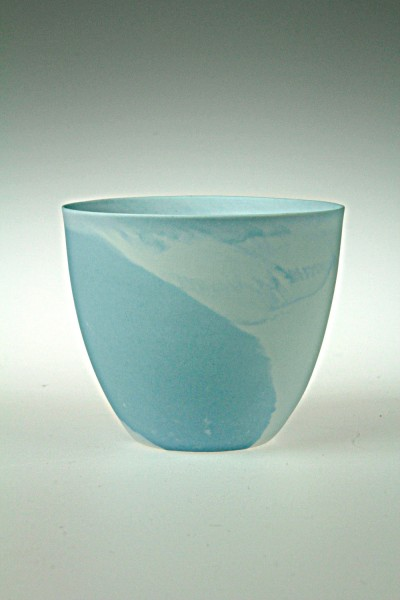 Windlicht Porzellan marmoriert, blau