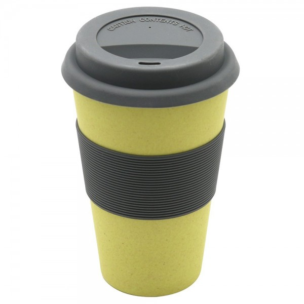 "Kaffeebecher Bambus ""To Go"", gelb, 13 cm"