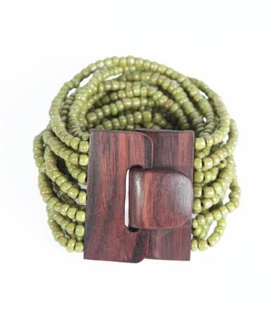 "Naturschmuck - Glasperlenarmband ""Fibbia"", grün"