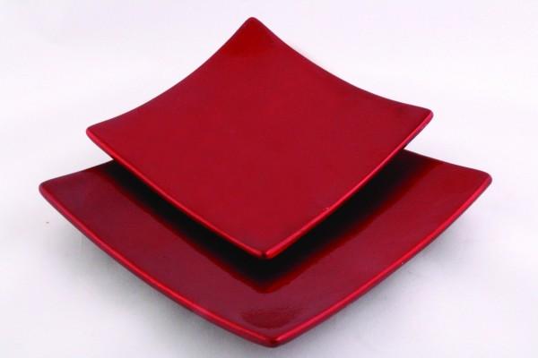 "Keramikteller ""Quadrat"", rotmetallic"