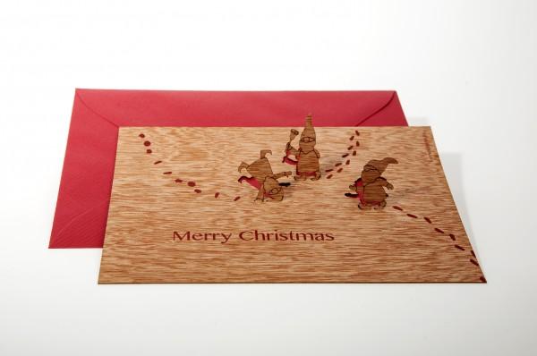 "Zedernholz Pop Up Postkarte - Wichtel ""Merry Christmas"""
