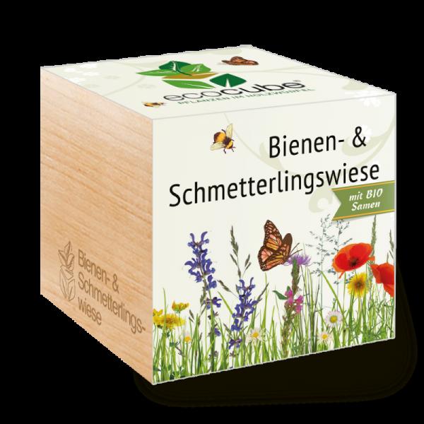 """Ecocube Pflanze im Holzwürfel """"Bienen- & Schmetterlingswiese"""""""