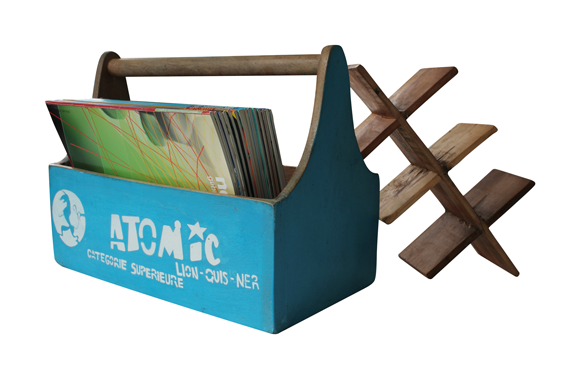 "Fundholz Recycling Flaschenträger ""Atomic"", blau"