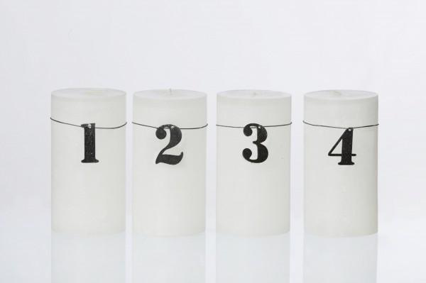 Adventskerzen Zahlen, schwarz, aus Öko-Filz
