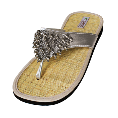 "Zimt-Slipper Nawemo ""Pearly silber"""