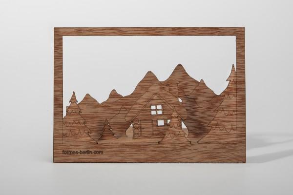 "Zedernholz Postkarte ""Winterlandschaft"""