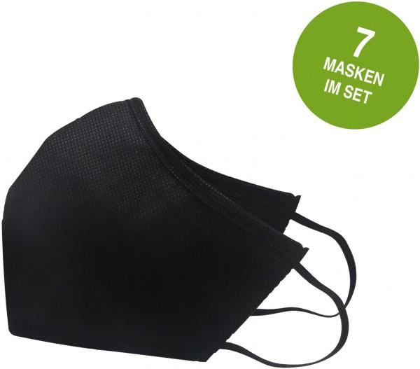 Mund & Nasen-Behelfsmasken, schwarz, 7er Pack