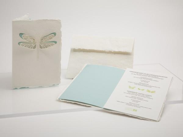 Büttenpapier Grußkarte - Libelle, handgeschöpft