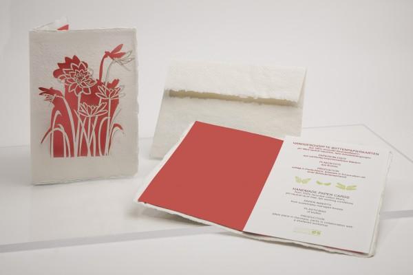 Büttenpapier Grußkarte - Rose, handgeschöpft