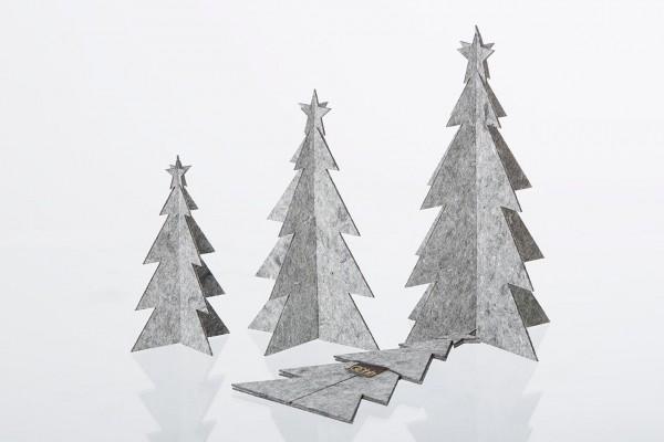 Deko Weihnachtsbaum in drei Größen, grau aus Öko-Filz