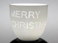 """Porzellan-Kerzenbecher """"Merry Christmas"""", weiß"""