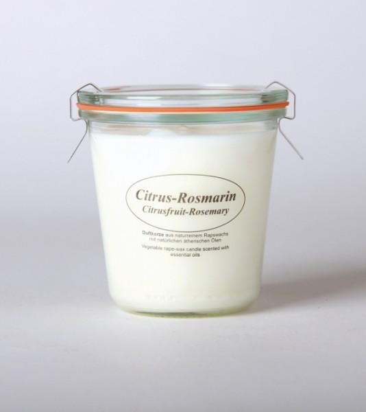 """Rapswachskerze im Weckglas """"Citrus-Rosmarin"""""""