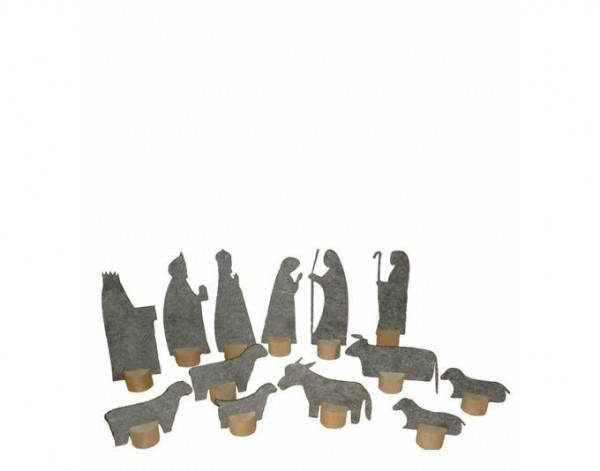 Deko-Krippenfiguren aus Öko-Filz, grau