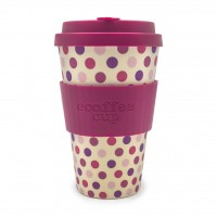 "Ecoffee Cup ""Pink Polka"" 400ml, (14oz)"