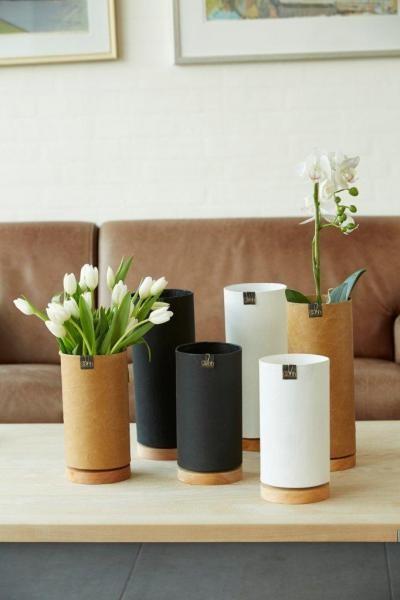 Recycling Papier Vase 23cm, schwarz