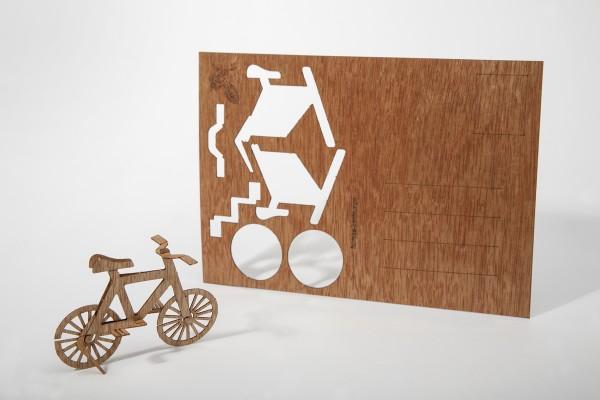 "Zedernholz Postkarte ""Fahrrad"""