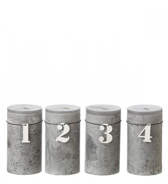Adventskerzen Zahlen, weiß Holz