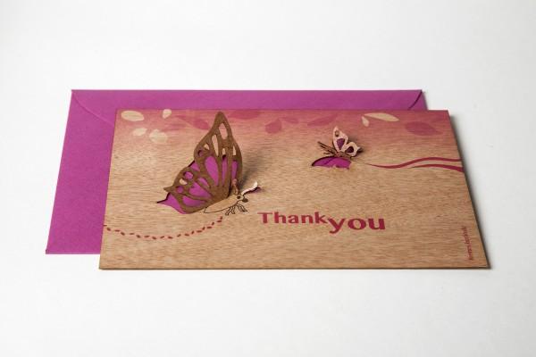 "Zedernholz Pop Up Postkarte - ""Thank You"""