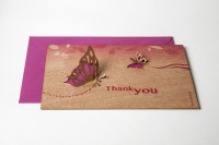 "Zedernholz Pop Up Postkarte - ""Thank You"""